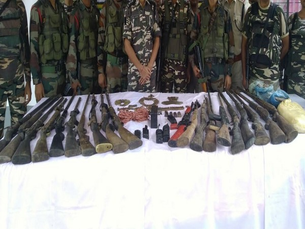 Security forces recovered a huge cache of arms and ammunition from Gabrukhunda on Tuesday. Photo/ANI