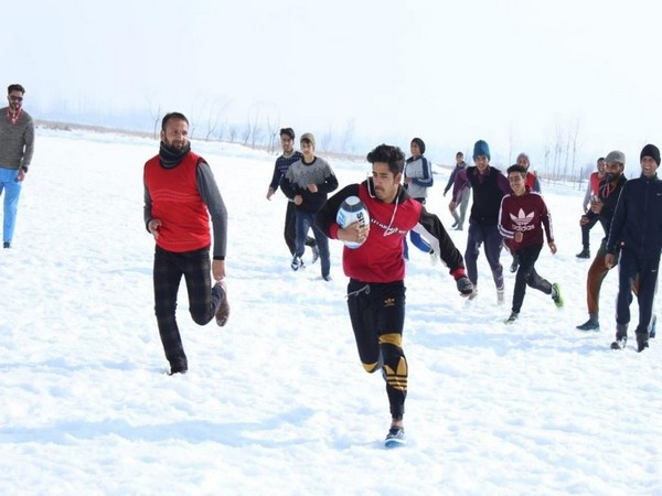 Inter-district snow rugby champion in Budgam (Photo/ANI)