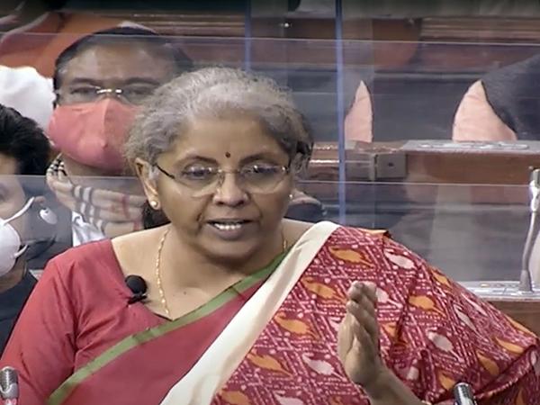 Finance Minister Nirmala Sitharaman during her budget speech on Monday.