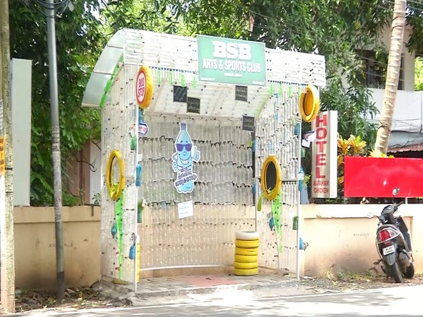 A bus stop shelter made of plastic bottles in Ernakulam district [Photo/ANI]