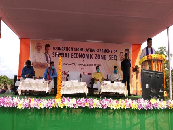 Chief minister of Tripura, Biplab Kumar Deb addressing the audience at the foundation-stone laying ceremony.
