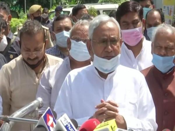 Bihar Chief Minister Nitish Kumar speaking to reporters in Patna on Wednesday. [Photo/ANI]