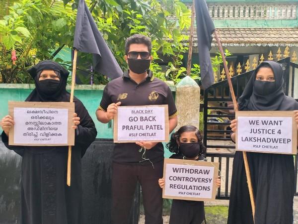 Save Lakshadweep Forum activists observe black day on Monday. [Photo/ANI]