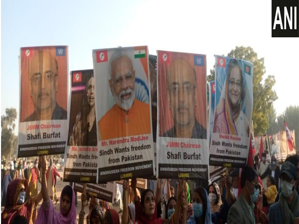 Rally was organised in Pakistan for the freedom of Sindhudesh wherein placards of Prime Minister Narendra Modi and other world leaders were raised seeking their intervention. (Photo/ANI)