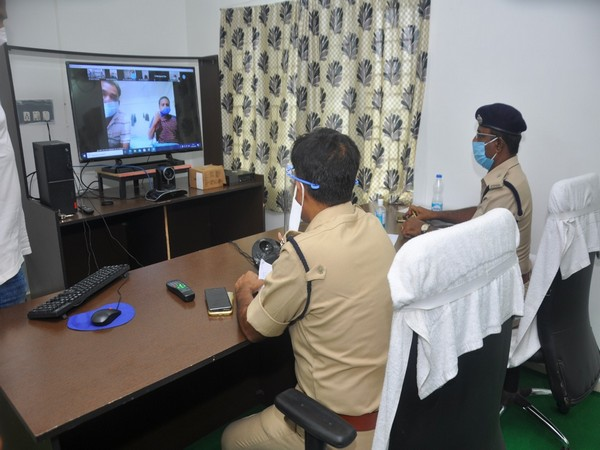 West Godavari District SP held a video conference with cops affected by COVID-19 on Wednesday. [Photo/ANI]