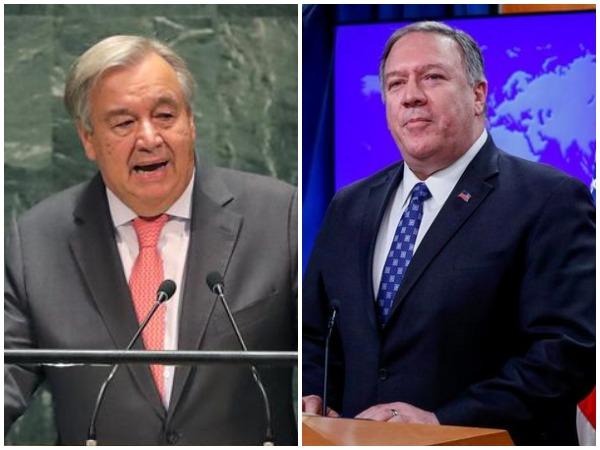 L to R: US Secretary of State Michael Pompeo and UN Secretary-General Antonio Guterres (File photo)