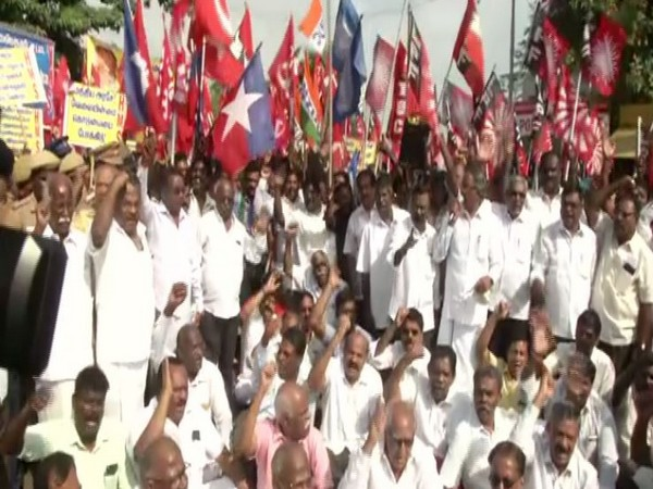 A visual from Chennai during Bharat Bandh on Wednesday. Photo/ANI