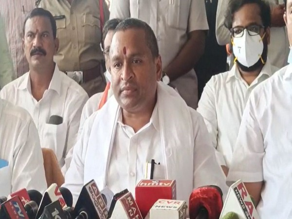 Andhra Pradesh Endowments Minister Velampalli Srinivasa Rao addressing the media on Wednesday. [Photo/10cric offers]