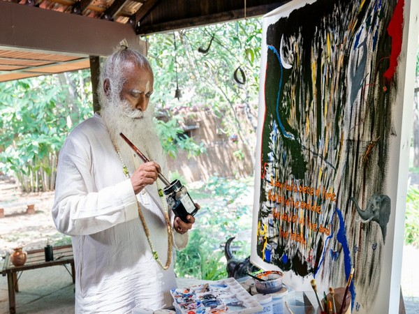 An abstract painting by Sadhguru, Founder, Isha Foundation titled 'To Live Totally!' was sold out for Rs 4.14 crore.