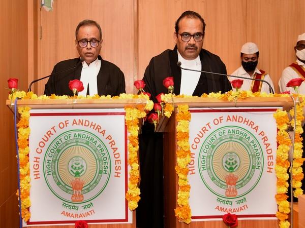 Justice Joymalya Bagchi (left) was sworn in as Judge of Andhra Pradesh HC on Monday