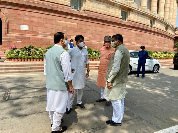 BJP President JP Nadda along with others held discussion for Agriculture Bill 2020 in the Parliament premises on Friday. (Photo/ANI)