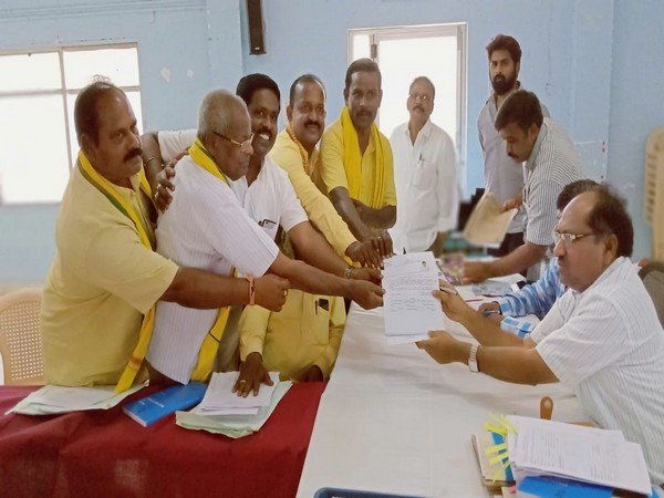 Local leaders filed nomination on behalf of TDP chief N Chandrababu Naidu on Friday. Photo/ANI