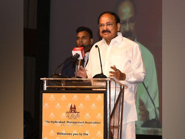 Vice President Venkaiah Naidu addresses an event in Hyderabad Management Association