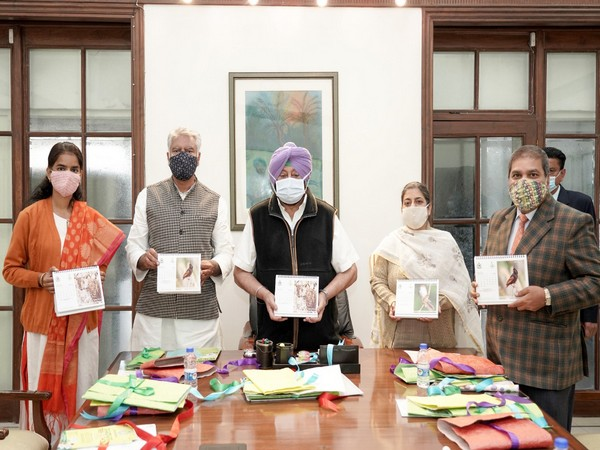 Punjab Chief Minister Captain Amarinder Singh (centre) launching informational materials for the Siswan Community Reserve. (Photo/ANI)