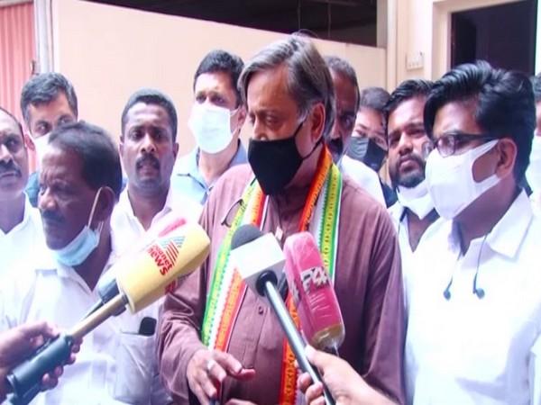 Congress leader Shashi Tharoor speaking to reporters in Muvattupuzha on Saturday. [Photo/ANI]