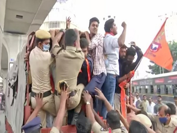 VHP's youth wing Bajrang Dal members staged a protest in Hyderabad against TRS MLA K Vidyasagar Rao's statement regarding donations for Ram temple [Photo/ANI]