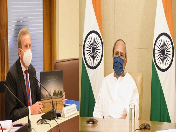 Odisha CM Naveen Patnaik met the High Commissioner of Australia via video conferencing on Tuesday. (Photos/ANI)