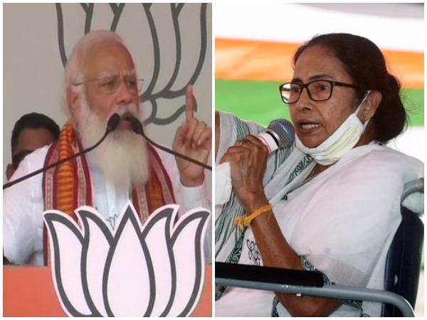 Prime Minister Narendra Modi, West Bengal Chief Minister Mamata Banerjee (Photo/ANI)