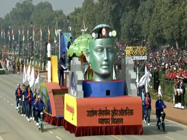 A view of the Startup India tableau that was taken out on Republic day. Photo/ANI