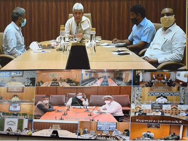 Lt Governor MAnoj Sinha chairs Covid review meeting (Photo/ANI)