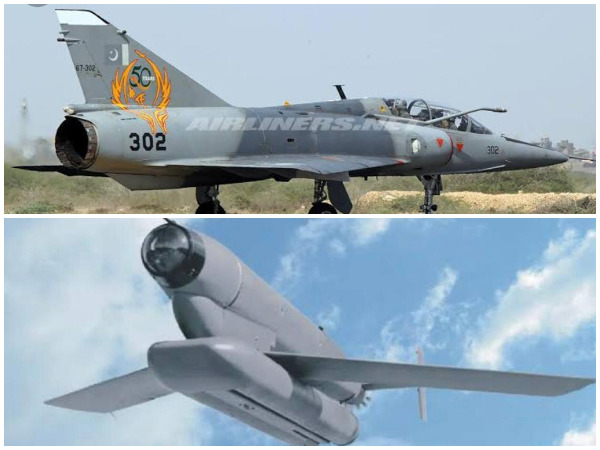 PAF Mirage-III (top) and H-4 Missile (bottom) [File photos]