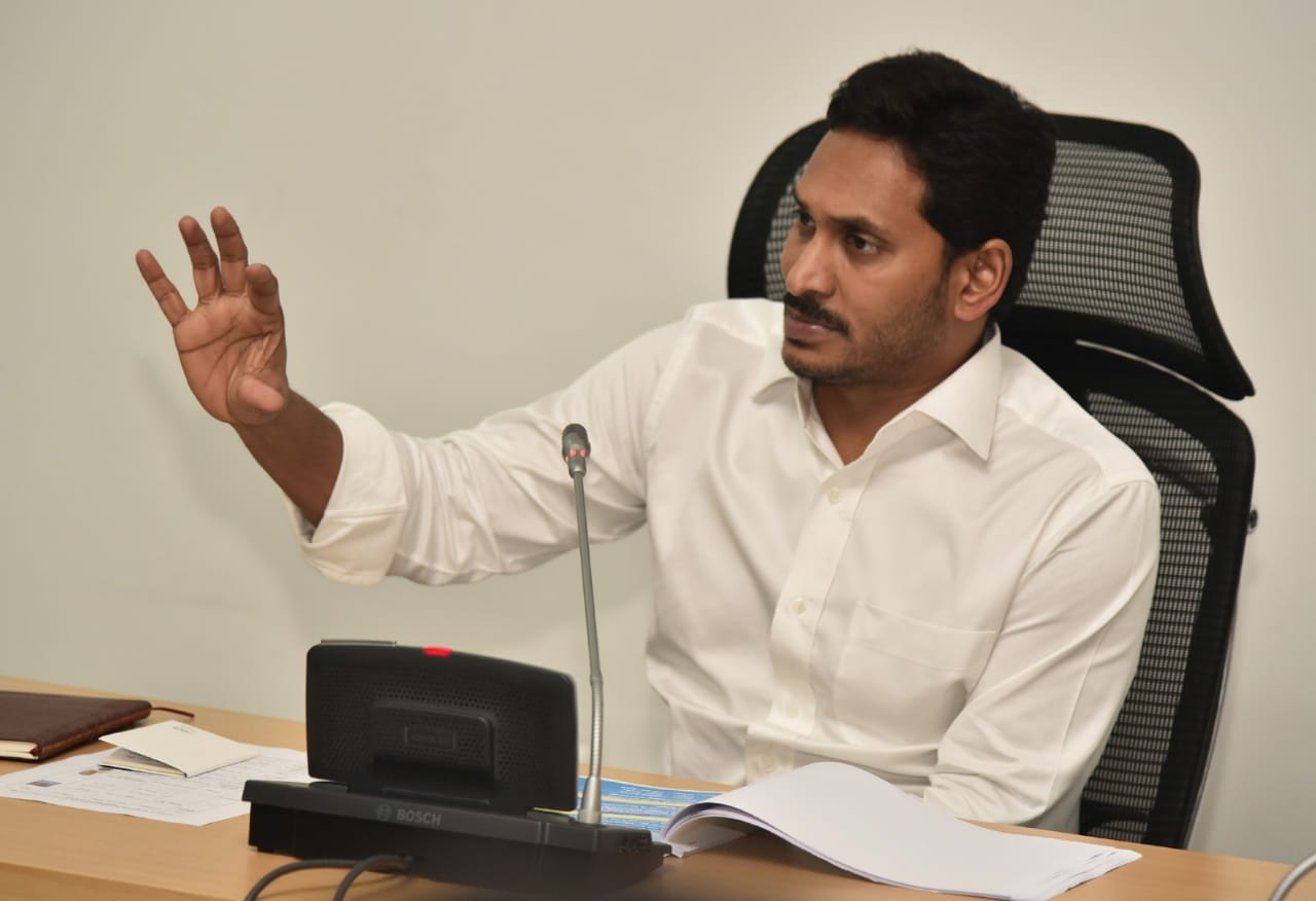 Andhra Pradesh Chief Minister YS Jagan Mohan Reddy addressing officials on Wednesday. Photo/ANI
