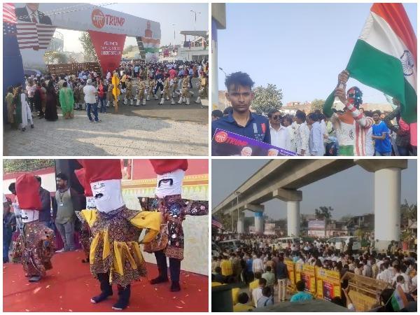 Preparations outside Motera Stadium in Ahmedabad ahead of Trump visit