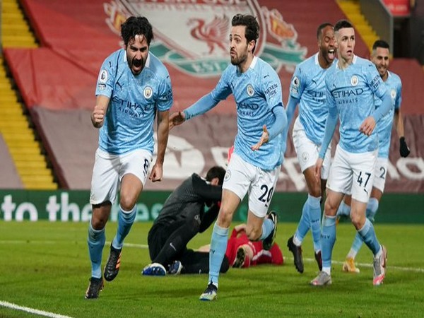 Gundogan celebrates after scoring against Liverpool (Photo/ Manchester City Twitter)