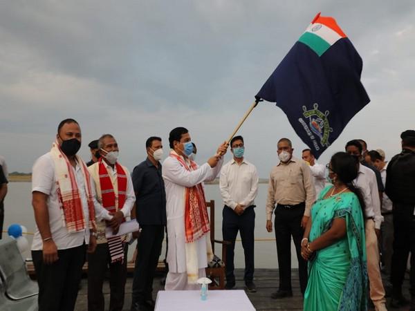 Assam Chief Minister Sarbananda Sonowal flagged off ferry service across Brahmaputra (Photo/ANI)