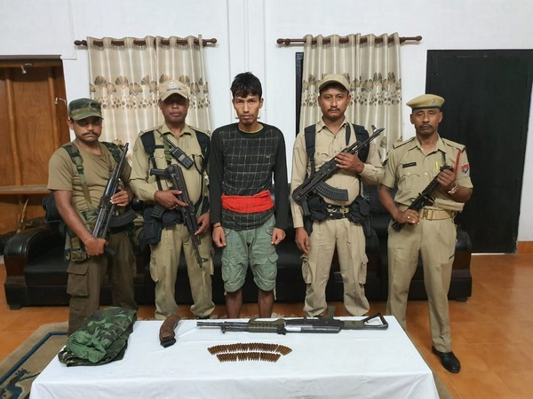 An ULFA (I) activist arrested with cache of arms in Tinsukia on Friday. Photo/ANI
