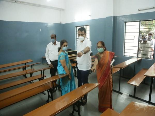 Karnataka Deputy Chief Minister Dr. C N Ashwathnarayan visited the Maharani Lakshmi Ammanni College to review preparations for CET exams. (Photo/ANI)