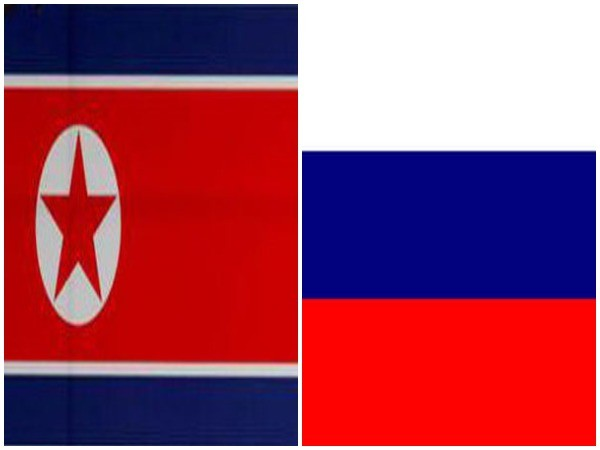 North Korea's flag (left) and Russia's flag (right)