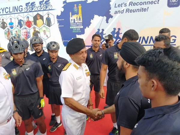 Vice Admiral Ajith Kumar P flagged off the expedition Maha-Navy Connect 2020 on Sunday. Photo/ANI