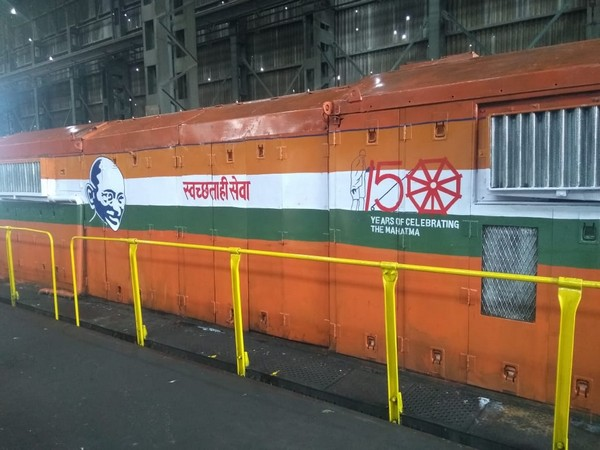 Some locomotives have been painted with Mahatma Gandhi's pictures in Central Railway on the occasion of 150th birth anniversary of the Father of the Nation. Photo/ANI