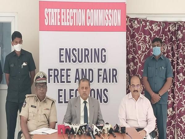 Andhra Pradesh State Election Commissioner Nimmagadda Ramesh Kumar at press conference