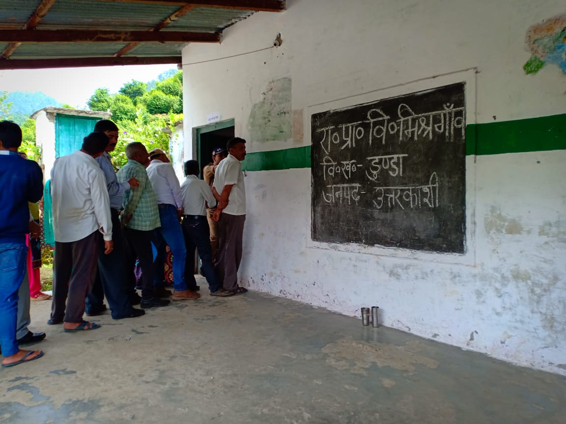 31.35 per cent voting was recorded upto 12 pm in the Panchayat elections. Photo/ANI