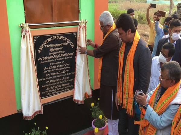 Union Minister of Jal Shakti Gajendra Singh Shekhawat inaugurates drinking water supply scheme at north Bijoynagar Gram Panchayat (Photo/ANI)