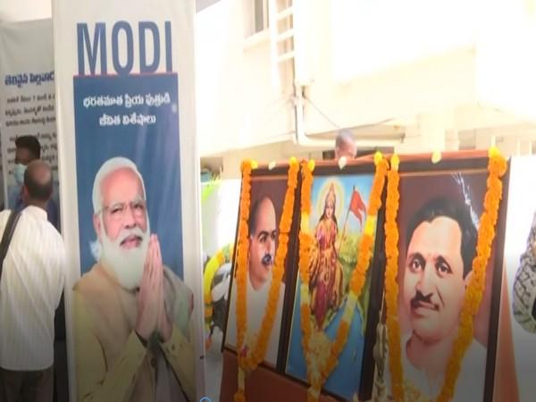 Andhra Pradesh BJP organises photo exhibition on PM Modi as part of 'Seva Aur Samarpan Abhiyan'. [Photo/ANI]