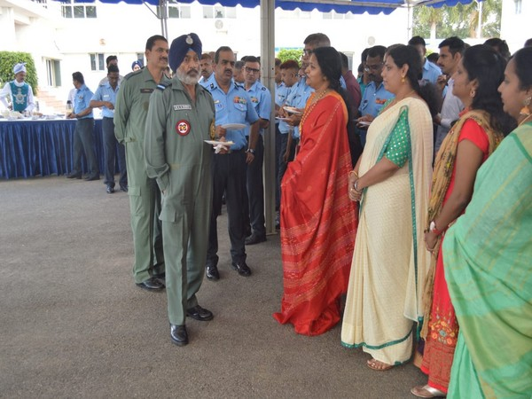 Air Marshal RKS Shera during his visit to Indian Air Force equipment depot in Bengaluru on Thursday. Photo/ANI