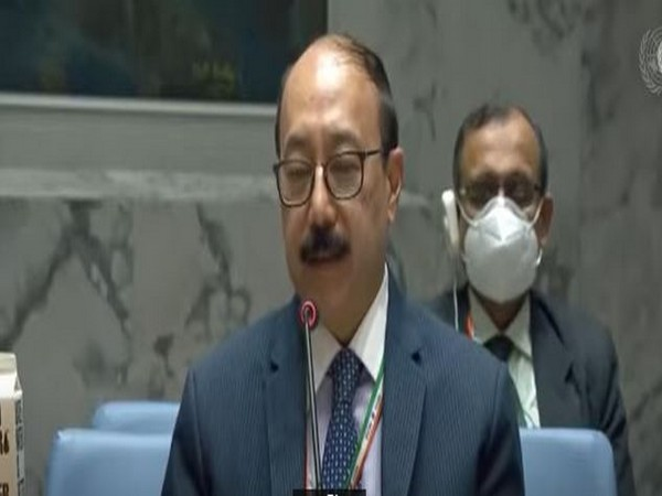 """Foreign Secretary Harsh Vardhan Shringla addressing the UNSC on """"Protection of Civilians in armed conflict: Preserving humanitarian space."""