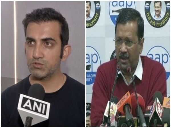 BJP MP Gautam Gambhir (L) and Delhi Chief Minister Arvind Kejriwal (R)