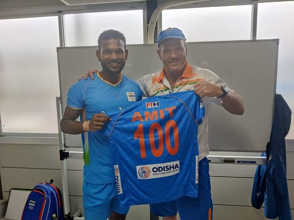 Amit Rohidas was awarded 100 caps jersey by Chief Coach (Image: Hockey India)