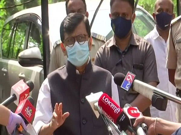 Sanjay Raut speaking to reporters in Mumbai on Monday. [Photo/ANI]