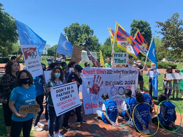 Dozens of Uyghur, Tibetan and Hong Kong activistsin the US protest against 2022 Beijing Winter Olympics.