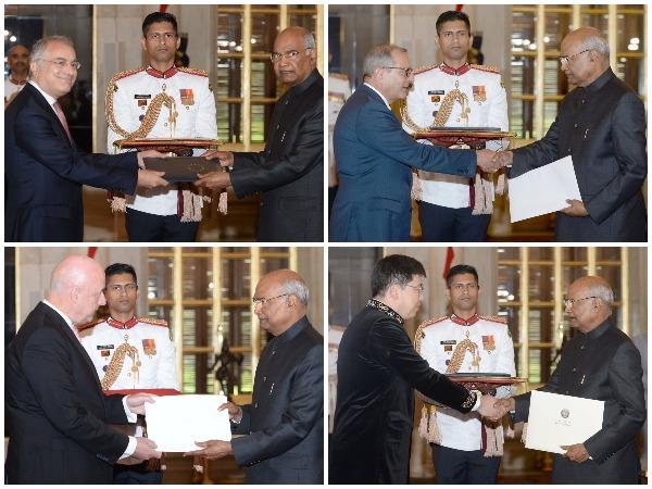Envoys of 5 countries present credentials to President Ram Nath Kovind at Rashtrapati Bhavan on Thursday.