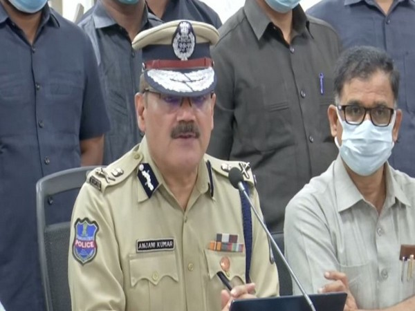 Hyderabad City Police Commissioner Anjani Kumar addressing a press conference in Hyderabad on Thursday. [Photo/ANI]