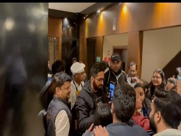 Ayushmann Khurrana meeting fans at the hotel