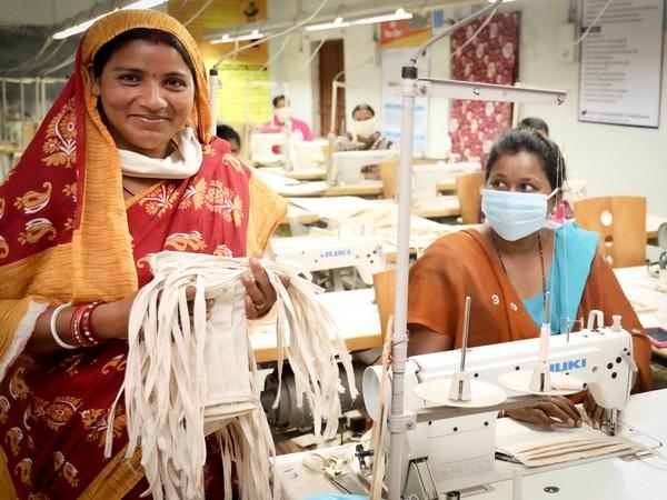 Women SHG preparing face masks in Odisha's Keonjhar (Photo/ANI)