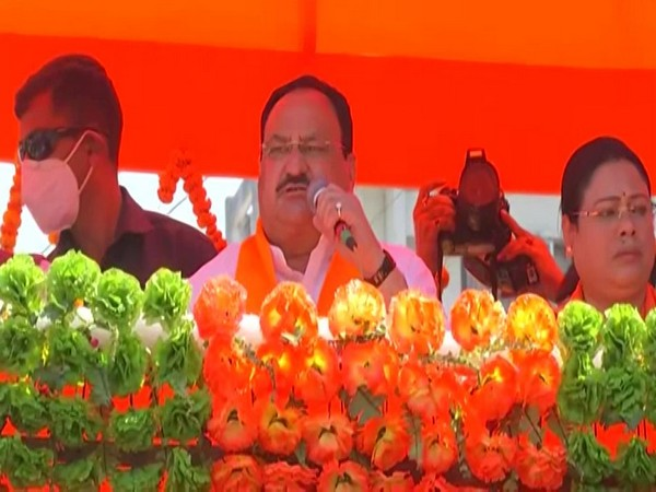 JP Nadda addresses during a roadshow in North Dinajpur on Monday. [Photo/ANI]