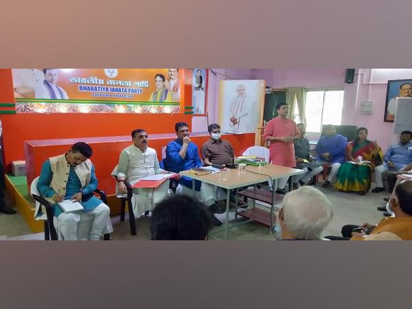 Visuals from the BJP Tripura meeting in Agartala (ANI)